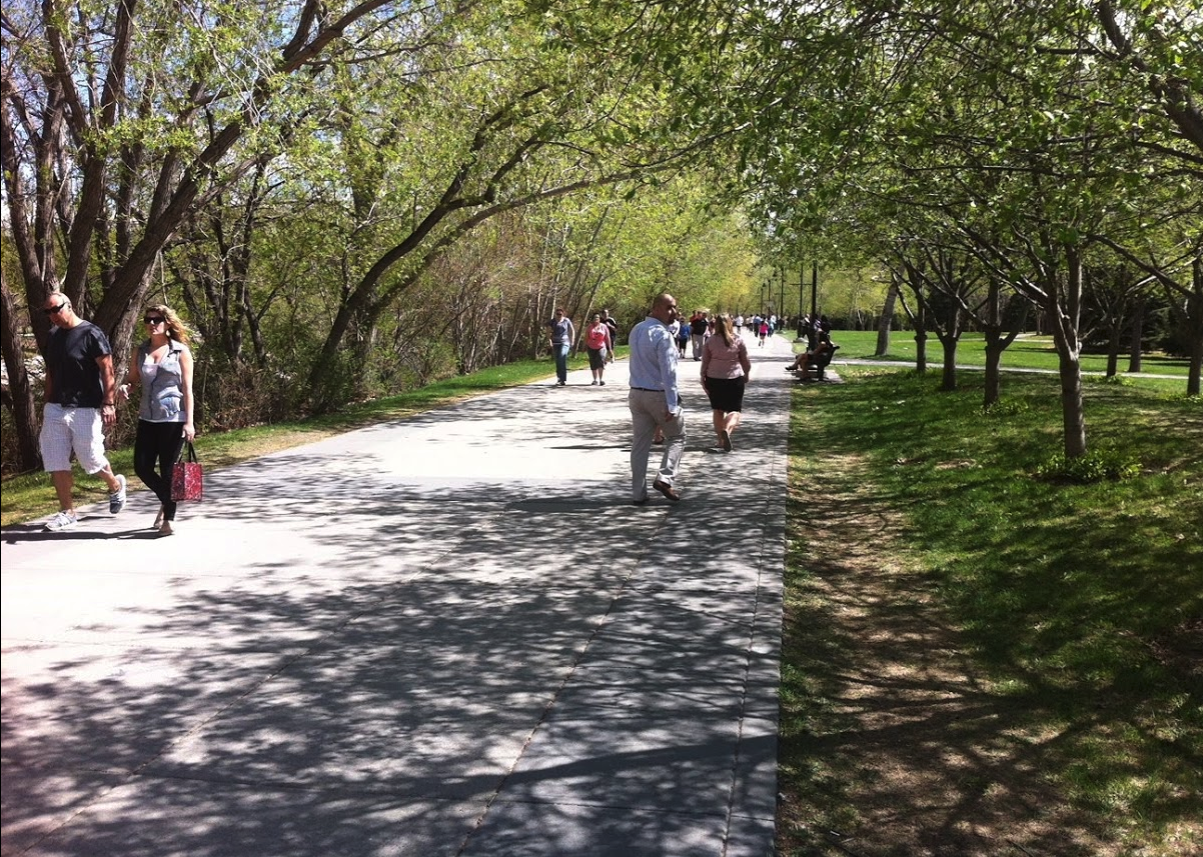 The Eau Claire Promenade is the perfect spot for a leisurely walk and some good people watching.