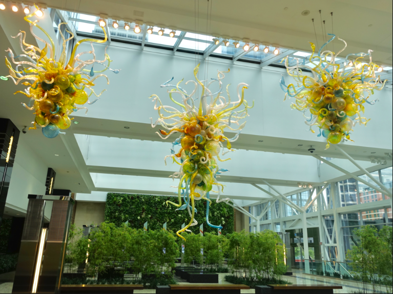 Jamieson Place's winter garden with three David Chihuly glass sculpture, infinity ponds and living wall.