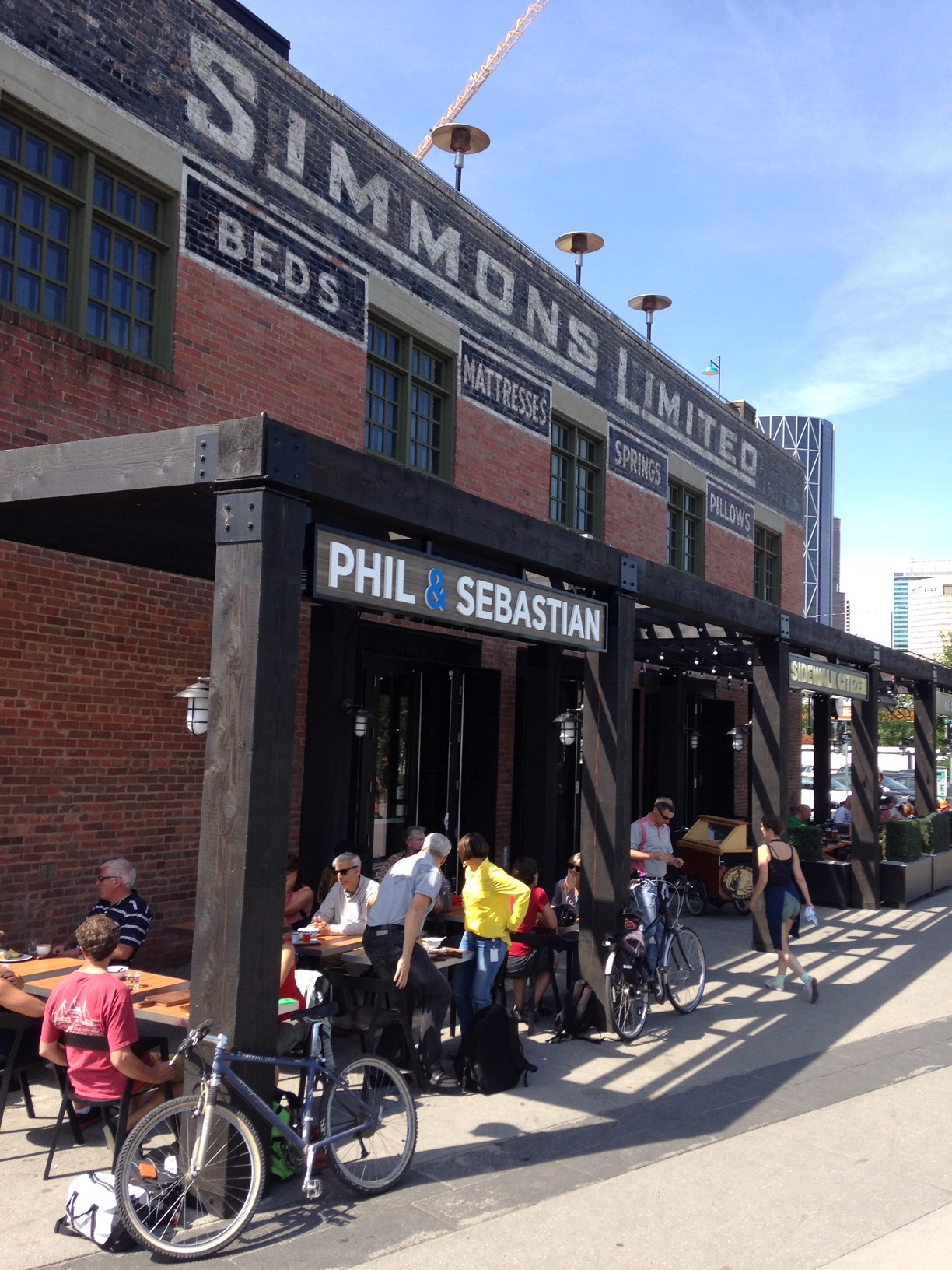 One of the best spots to stop along the Bow River for refreshments and people watch is at the Simmons Building in East Village.