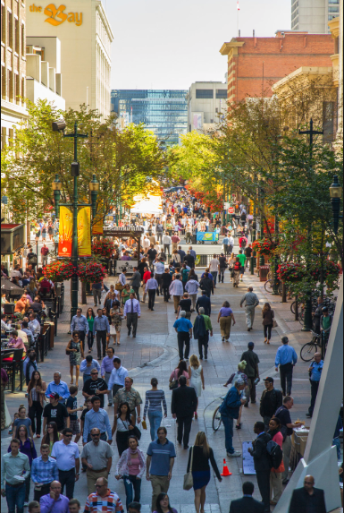 In the summer you will want to be on Stephen Avenue Walk at noon hour when 10,000+ people walk the walk. It is full of patios and vendors that create a festival-like atmosphere.