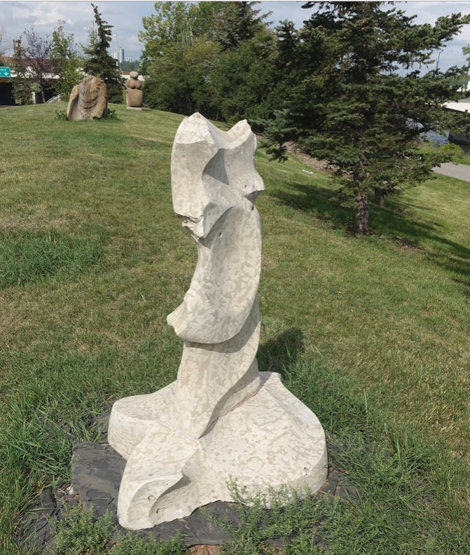 You will find lots of public art as you walk along the Bow River like these pieces near the 14th Street bridge.
