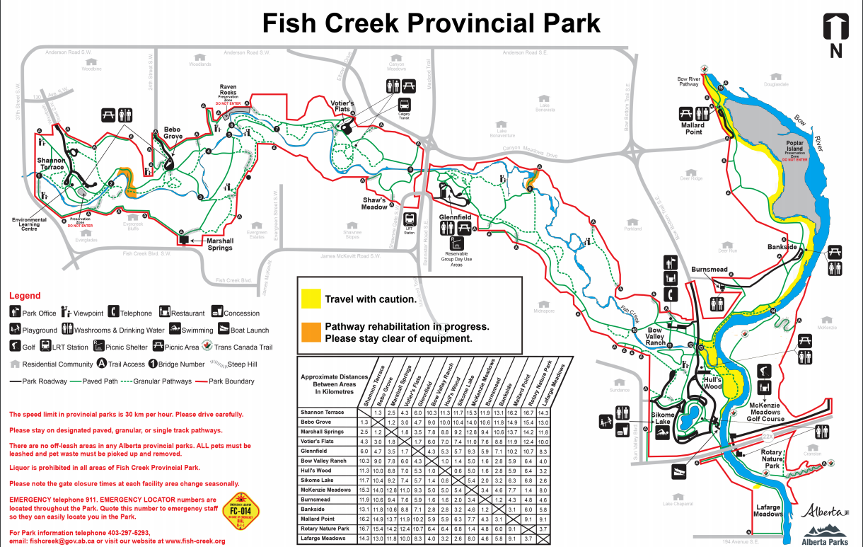 Fish Creek Park is one of the largest urban parks in Canada. It offers numerous trails, as well as the historic Bow Valley Ranche restaurant.