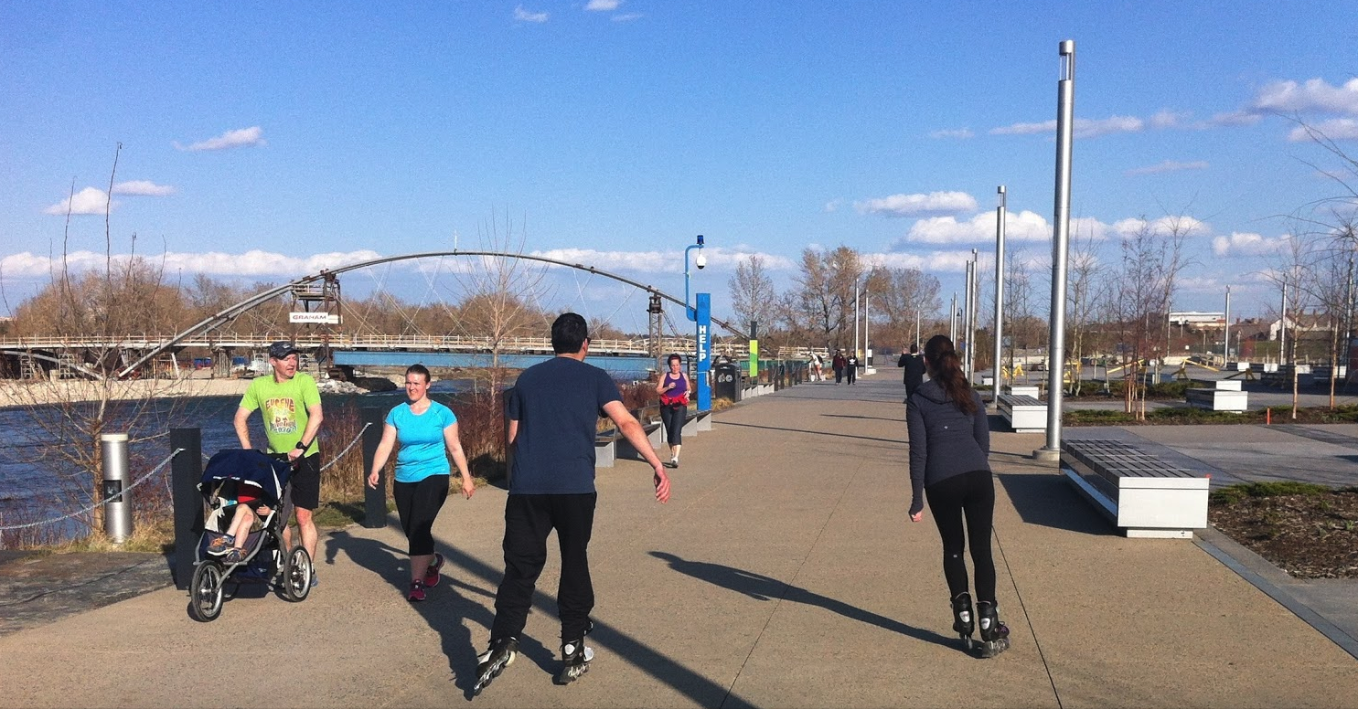 Roller blading along East Village's RiverWalk…