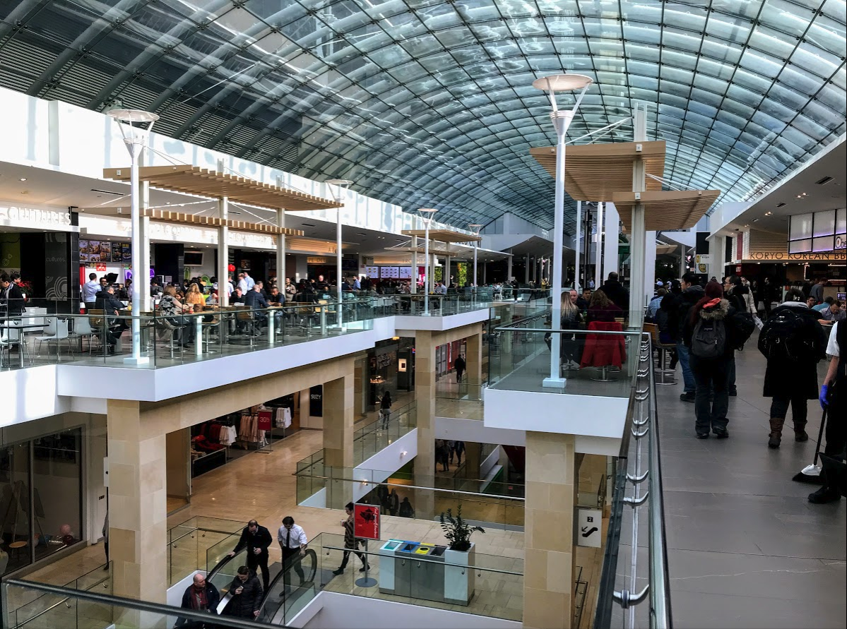 The Core Shopping Centre is the hub of the +15 system with four floors of shops.