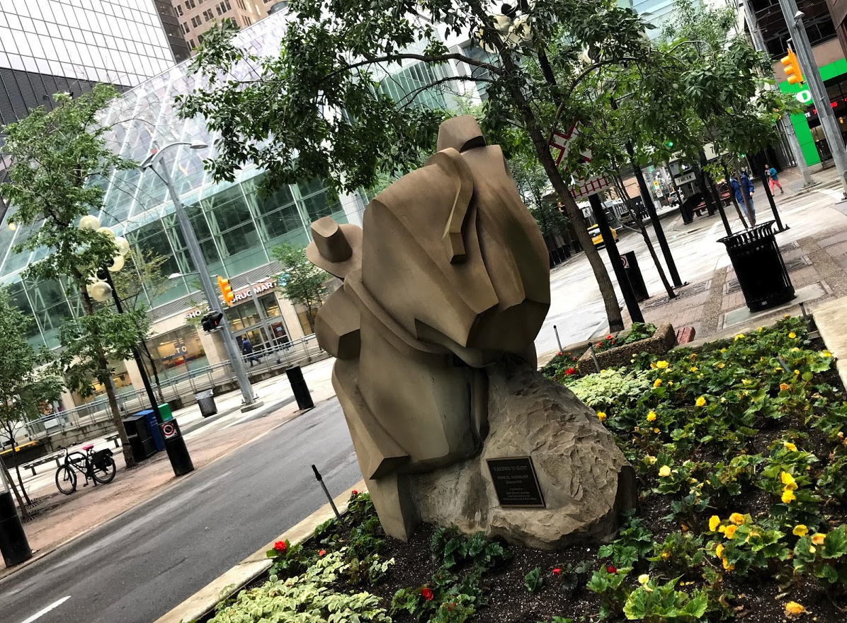 Barclay Mall aka 3rd Street SW has numerous sandstone sculptures as it winds its way from Stephen Avenue to Prince's Island.
