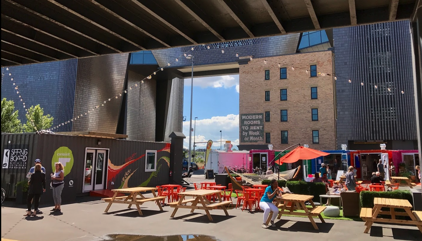 East Village also has street retail and a fun pop-up container park in the summer.