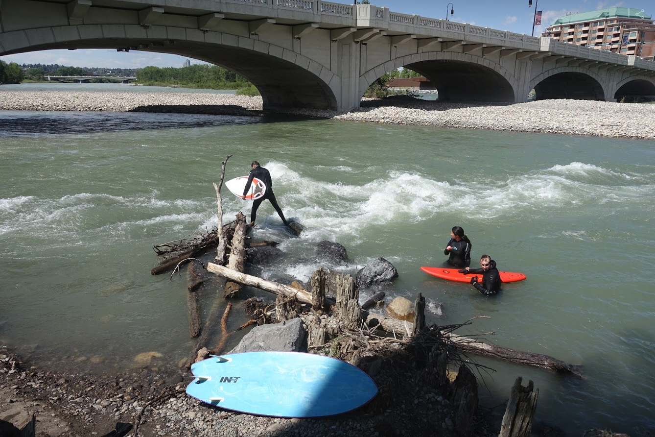 River surfing at the Louise Crossing Bridge wave.