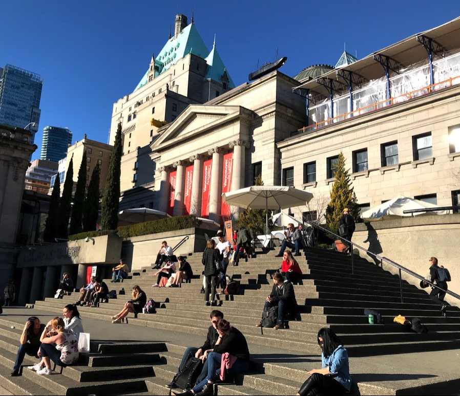 The stairs in front of the Vancouver Art Gallery is a popular place to chill and catch some sun.