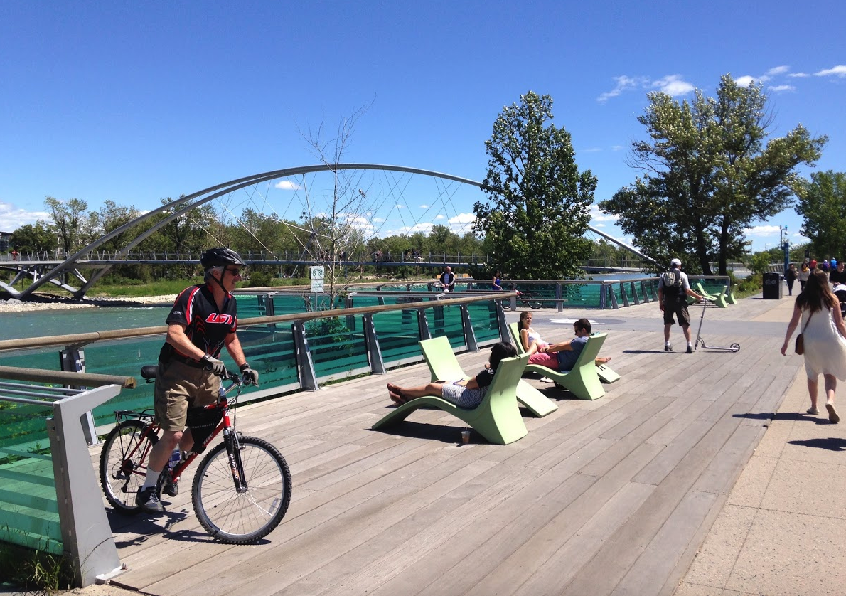Calgary's RiverWalk in East Village is a popular chill place.