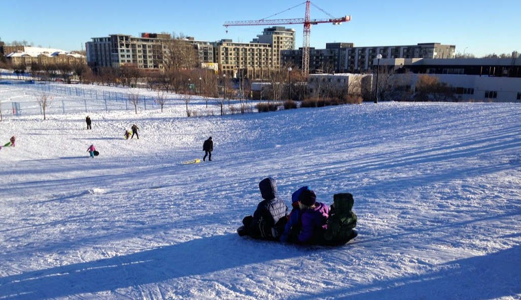 Tobogganing is popular with families in Bridgeland.