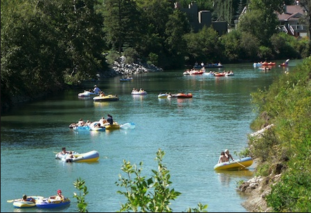 River rafting along the Elbow River through Mission is popular in the summer.