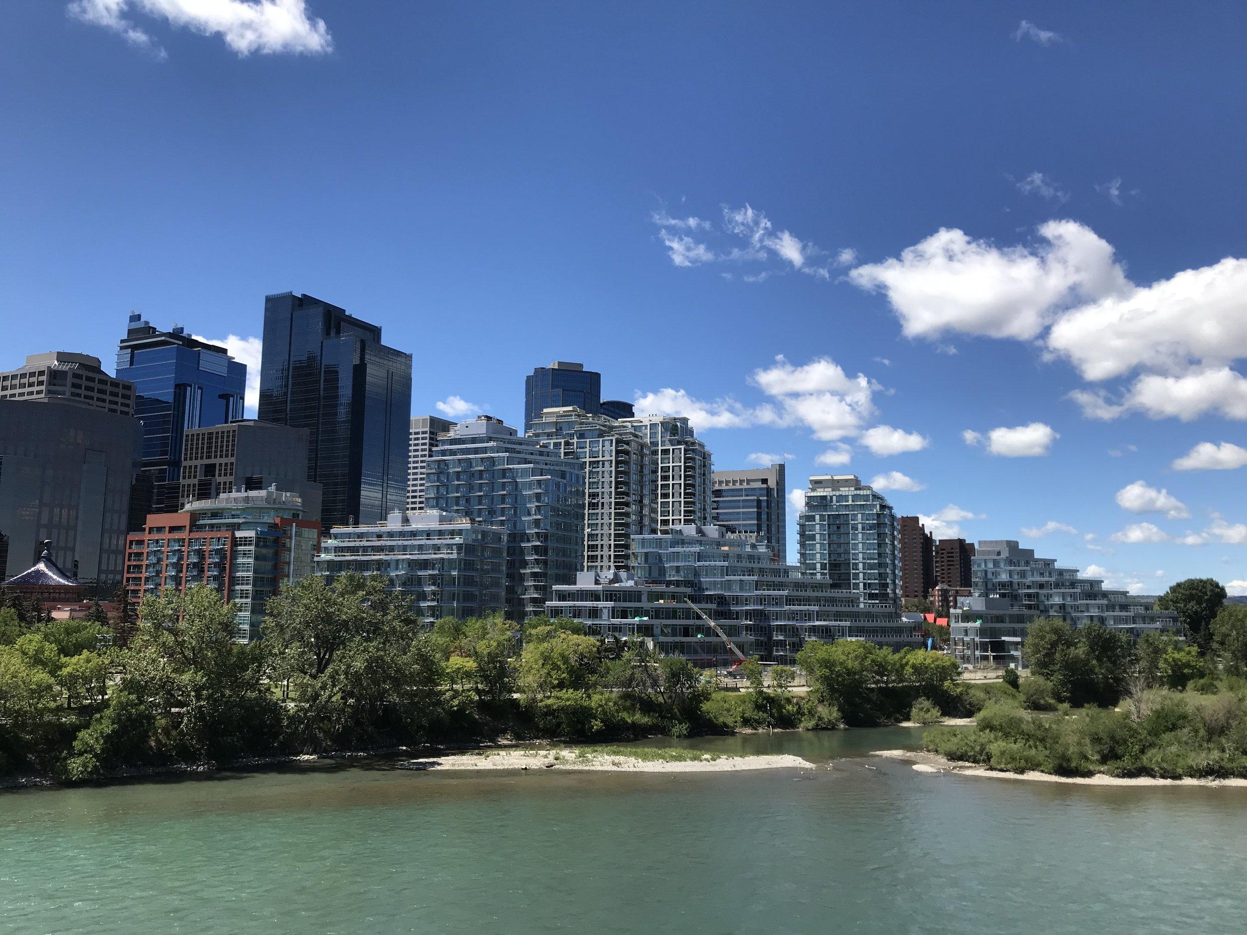 Calgary's Eau Claire shoreline.