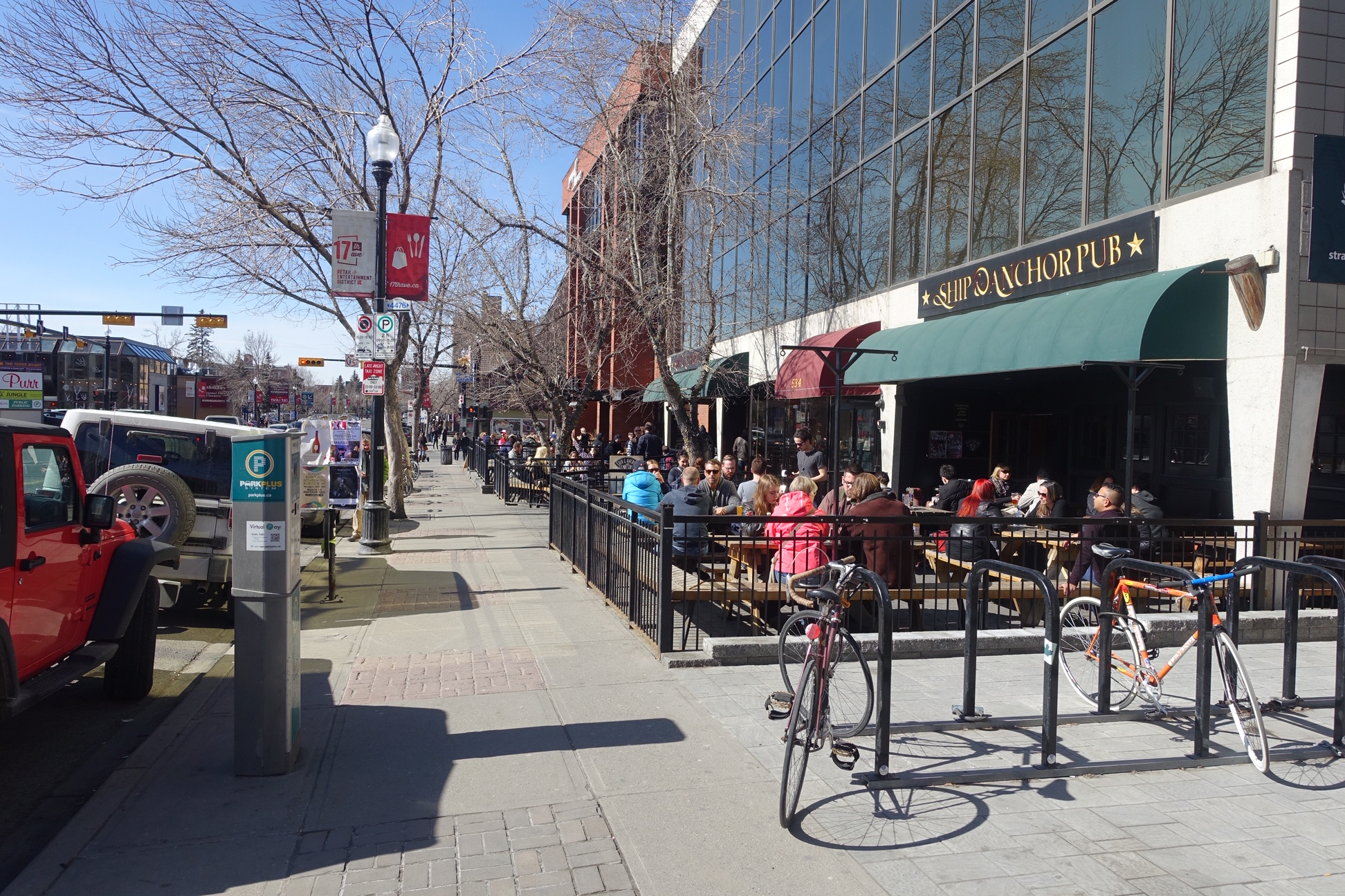 Calgary's 17th Avenue is lined with sidewalk patios that make for great people watching.
