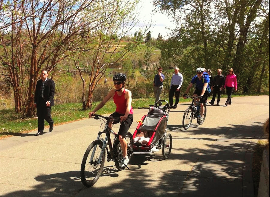 Calgary's City Centre river pathways are popular weekdays and weekends.