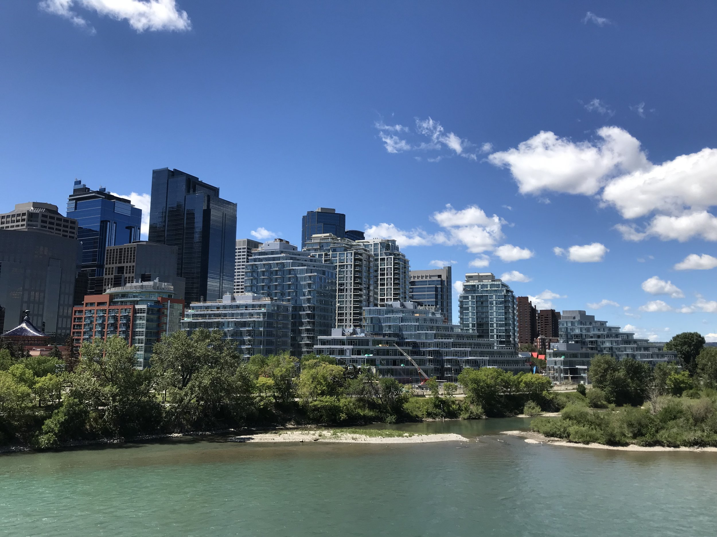 Today Eau Claire is a ribbon of residential development with the Bow River and Prince's Island on one side and the downtown office towers on the other.