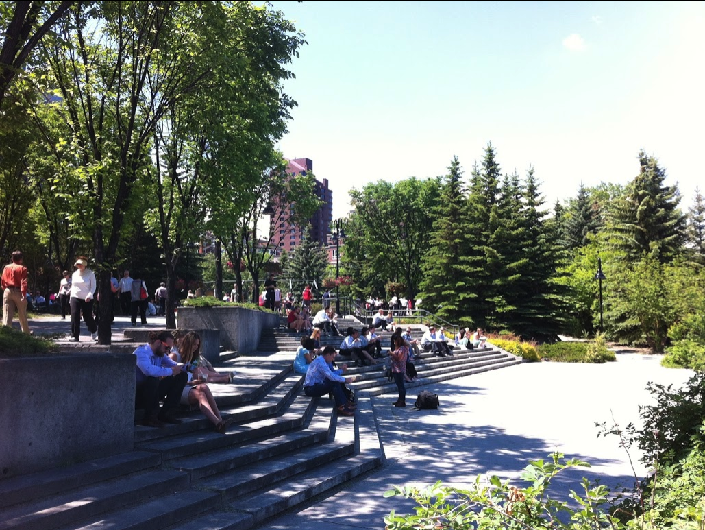 Eau Claire has numerous public spaces to sit and enjoy Prince's Island Park, especially downtown workers at lunch..