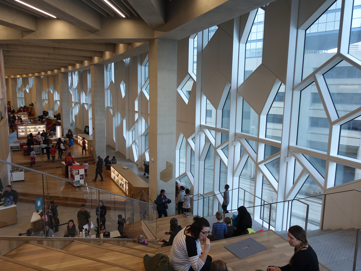 The new library is spectacular inside and has been very popular with Calgarians of all ages and backgrounds. It is more like a community centre than a library - which is a good thing.