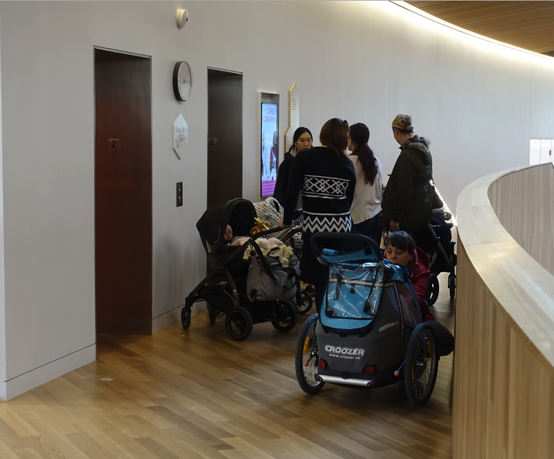 Even once you are inside, the elevator access to the upper floors is tight for those in walkers, wheelchairs and strollers.