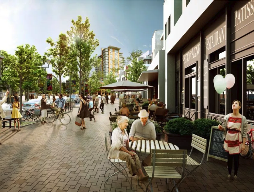 Computer rendering of University District's future Main Street.