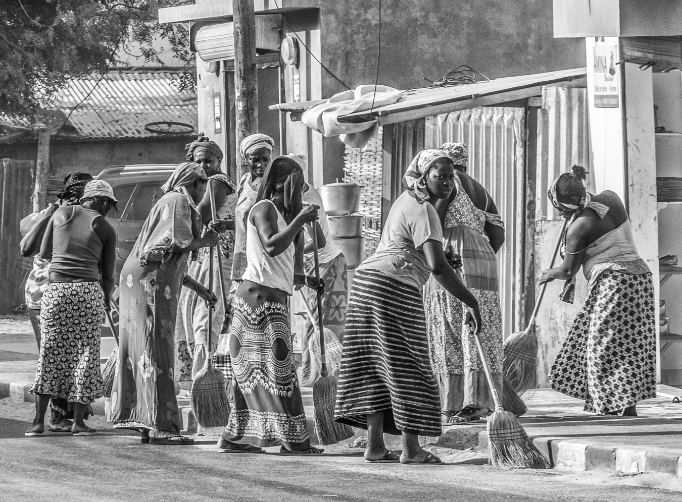 Clean Sweep, Cape Skirring, 2016   It was the start of the tourist season and the women of the community all joined together to sweep the streets in preparation for the onslaught of tourists. True community spirit, with an abundance of brooms.