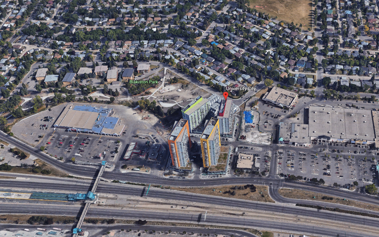 Google Earth image of University City condos next to Brentwood Mall and Coop grocery store with Brentwood LRT station in the bottom left hand corner.