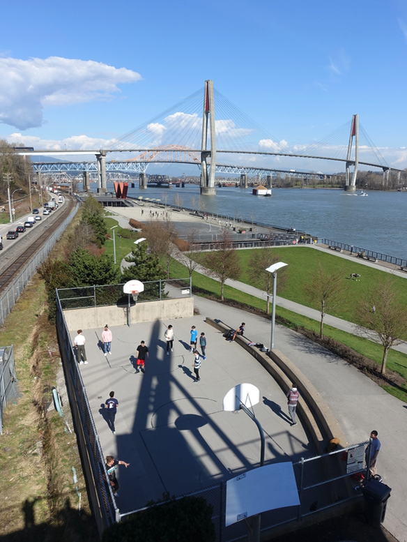 There is a lovely linear park between the tracks and river creating a mixed-use recreational destination. TOD must include creating public spaces where people can meet, relax and play.