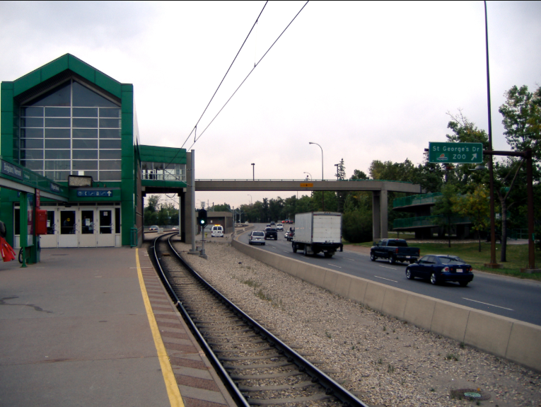 Another view of the Bridgeland LRT Station illustrating how isolated the station is from the community with major road on either side.