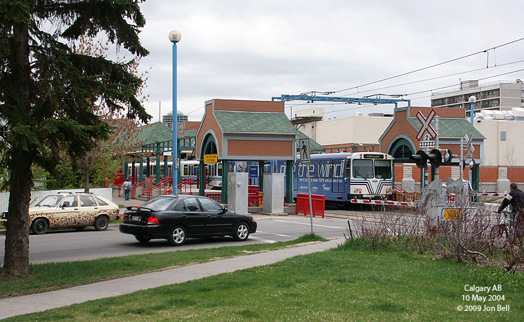 By contrast Calgary's Sunnyside Station is integrated into the community with grocery store next to it, shops just a block away and homes right next to it. This is the ideal way to design TOD redevelopment into an existing community. Even the station design has a home-like look to it.