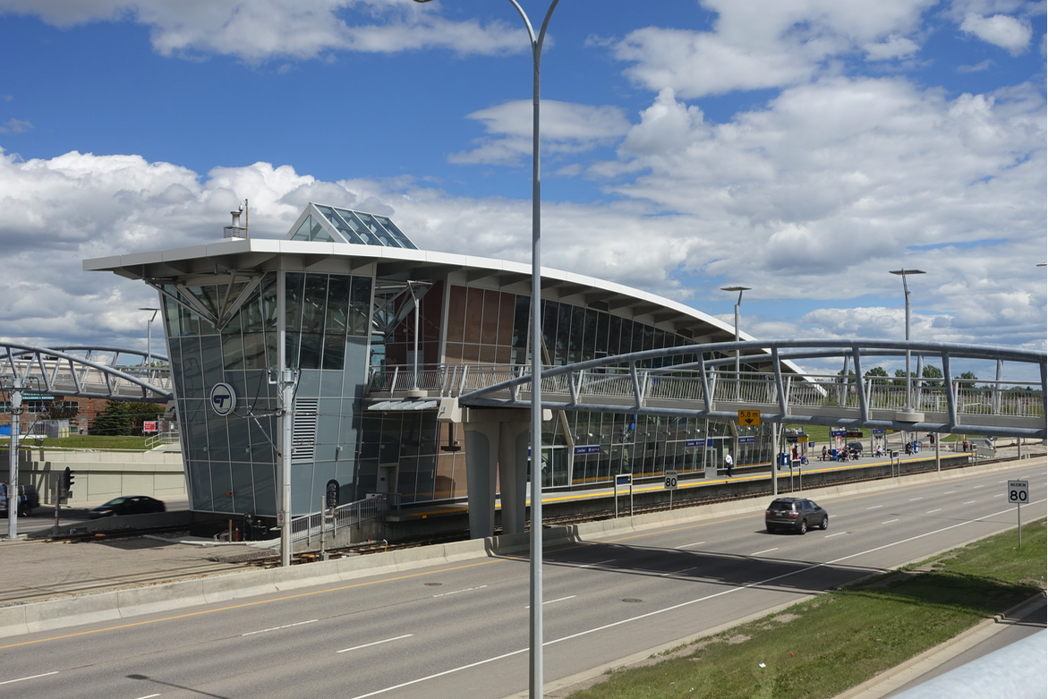 The Crowfoot Station which opened in 2009 sits in the middle of Crowchild Trail freeway. It is going to be impossible and expensive to integrate this station into the community. Perhaps in the future we will built a new community over-top of the roads at LRT stations?
