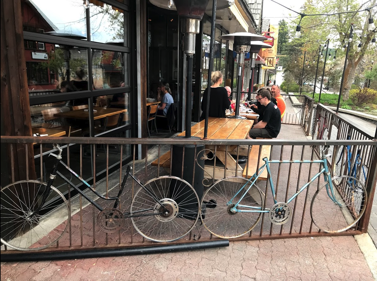 Loved this patio at  Pedal and Tap  with its bikes…there are also several vintage bikes inside, as well as some good beer.