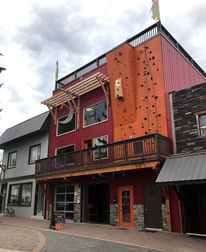 The  Spirit Rock Climbing Centre  is one of several more contemporary buildings now populating downtown Kimberley.