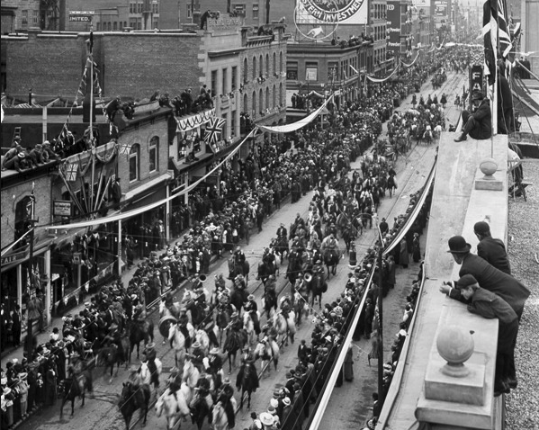Stampede Parade along Calgary's historic Stephen Avenue. The first Stampede Parade was held in 1912 and was attended by 75,000 people and included 1,800 First Nation individuals.