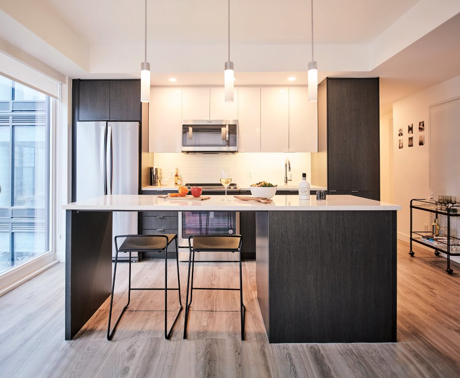 SODO's modern open kitchen design is perfect for hosting friends.