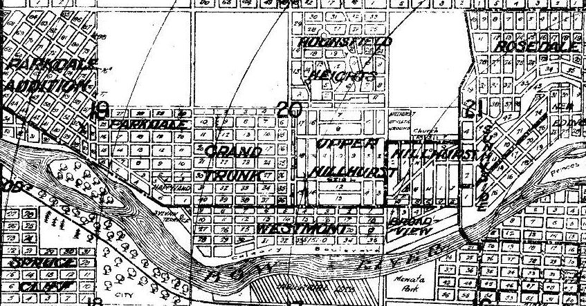 1945 map still had Westmount, Upper Hillhurst and Broadview as separate communities.