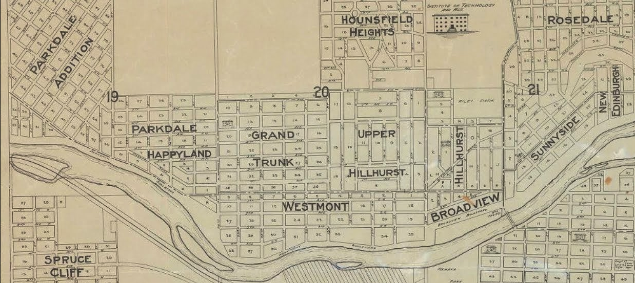 Early 20th Century maps included names like Parkdale, Happyland, Grand Trunk, Westmount and Upper Hillhurst within the boundaries of today's West Hillhurst.