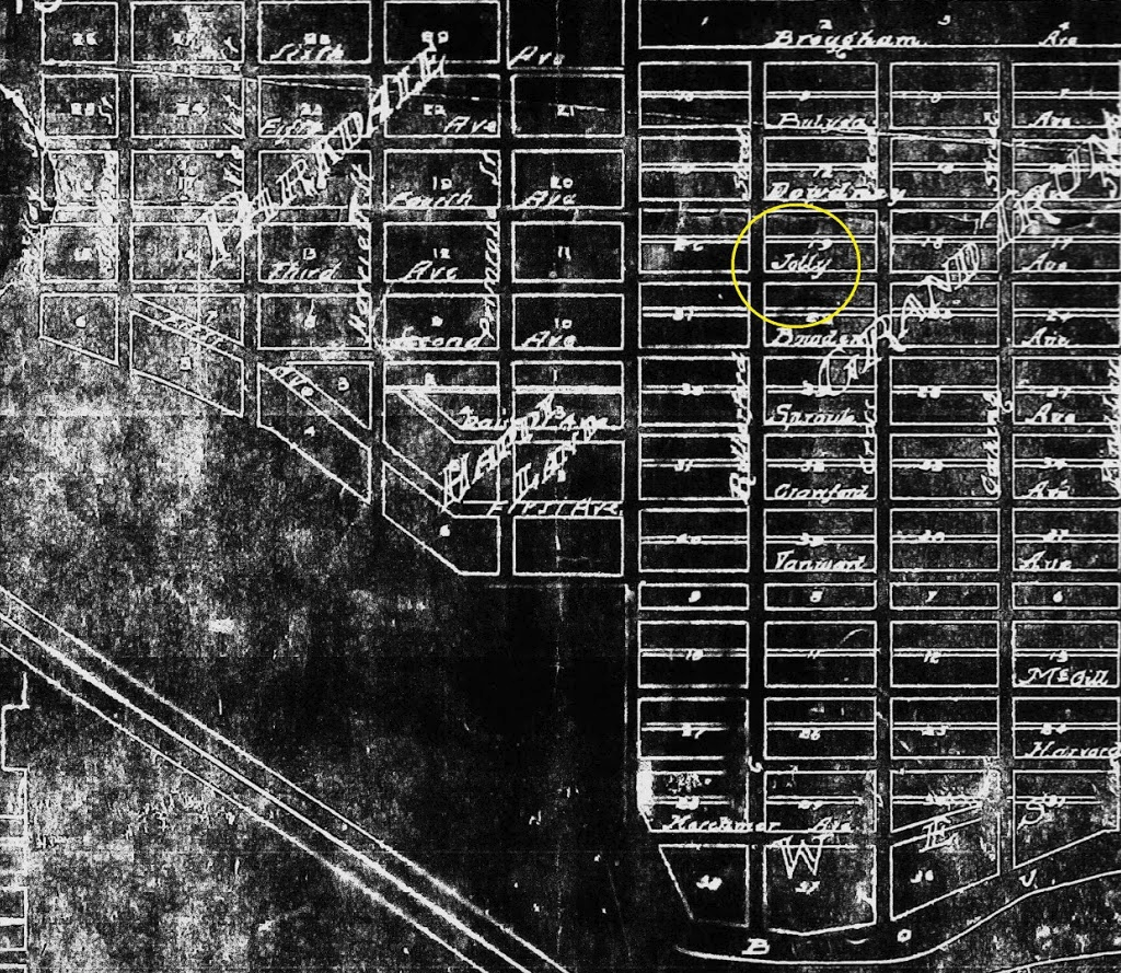Found this old map online that still has street names instead of numbers Grand Trunk but street numbers for Parkdale and Happyland. Around 1911, street names fell out of favour and the City replaced them with the street numbers and quadrant system we have today.