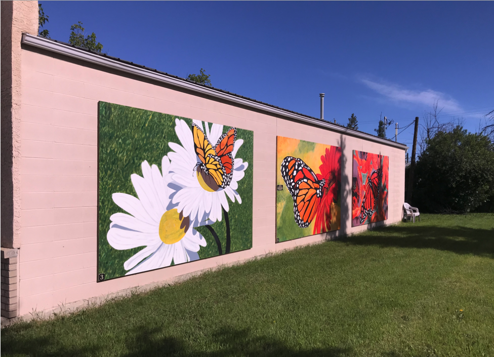 One of several large paintings attached to the sides buildings in downtown Irricana to add some colour and charm. These were done by artists Leona Fraser in 2009.