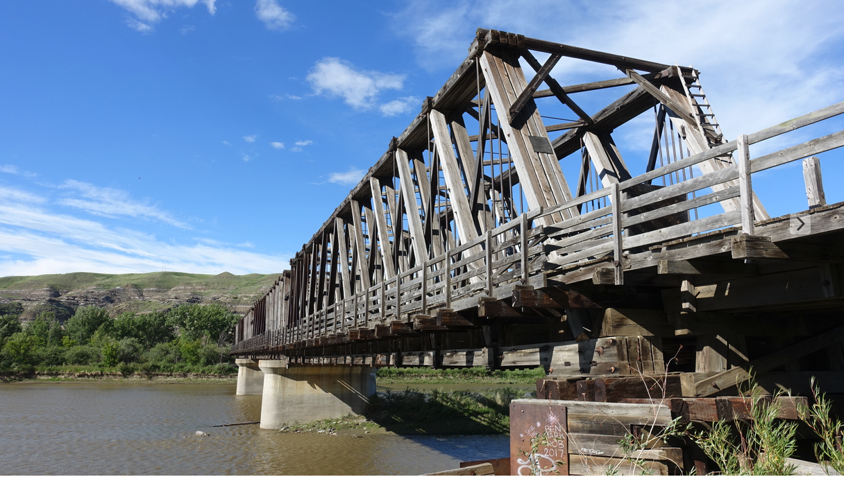 Railway bridge from Atlas Coal mine to East Coulee and beyond.