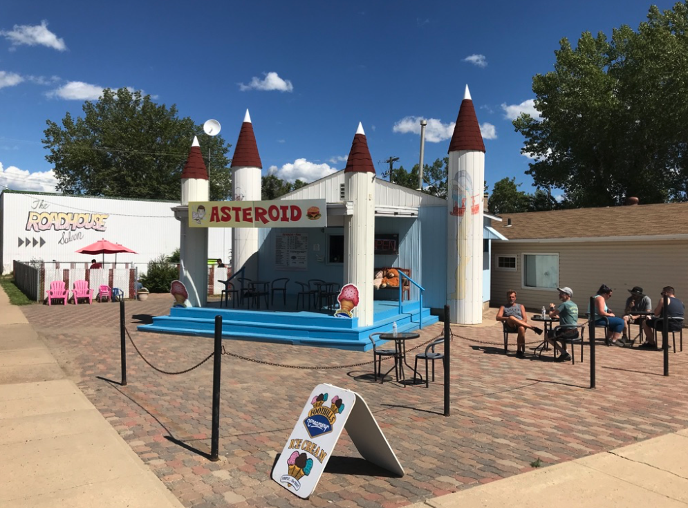 Just outside of Drumheller on the way to Wayne is Asterroid a must stop for those who like ice cream. No road trip is complete with out an ice cream cone.