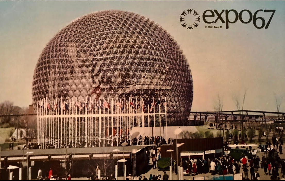 "The Pavilion of the United States a huge transparent geodesic ""skybreak bubble"" 250 feet in spherical diameter and 200 feet hight. Its exhibits show the creative efforts of man based on a life in a prosperous and automated society."