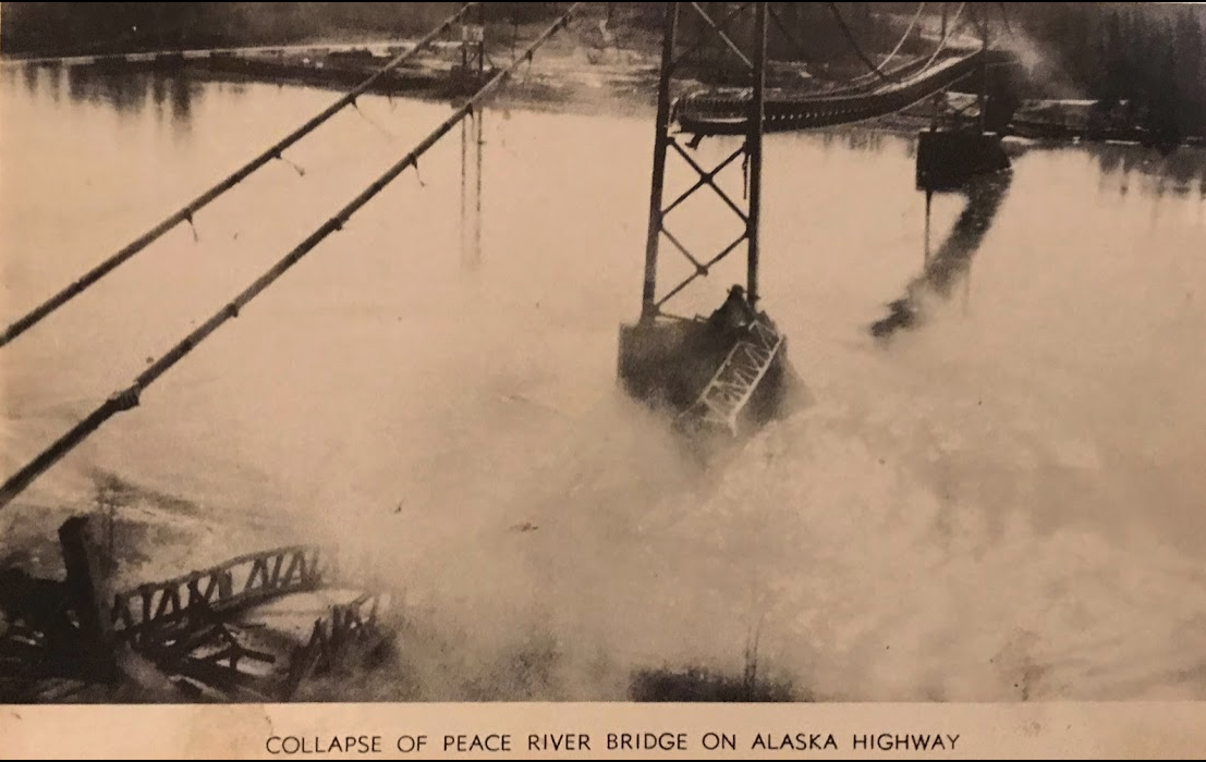 The dramatic picture caught the eddies stirred by the north span of the Peace River Highway Bridge as it fell into the river October 17, 1957.