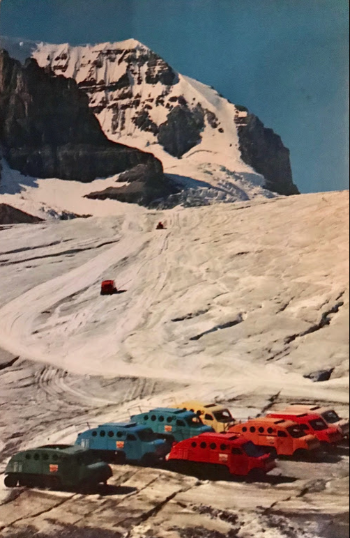 Snowmobiles, The Ice Taxis. High in the Canadian Rockies lies Athabasca Glacier, on elf several arms of the Columbia Glacier - the largest remand of the Ice Age south of Alaska. Snowmobiles stand ready to carry visitors on a spectacular ride over the glacier.
