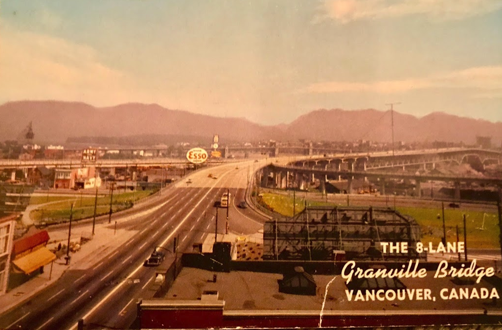 This 8-lane bridge is believed to be the widest bridge on the Continent (103ft) outside of New York. It was completed in 1954 at a cost of $12,000,000 exclusive of land purchases. It has a vertical clearance for 90 ft over the navigable channel of False Creek.