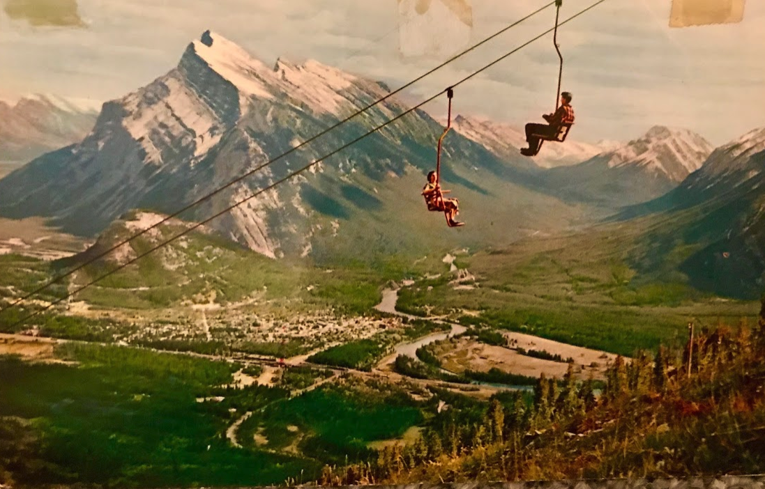 Mount run dale (alt 9675 ft.) from Banff chair lift on Mount Norquay.