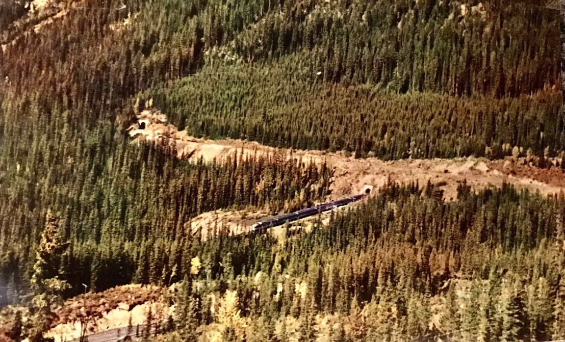 """The Canadian"" Trans-Canada luxury train entering the Lower Spiral Tunnel, Field B.C. Yoho National Park."