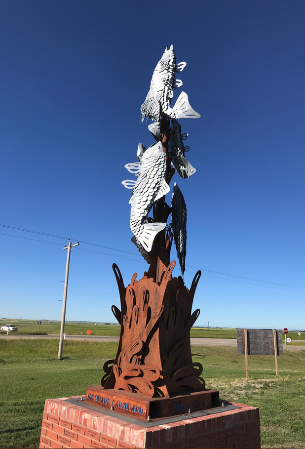 Was surprise to find this fish monument celebrating the 100th anniversary of the founding of the town Carseland (population 525) which is near, but not next to the Bow River.