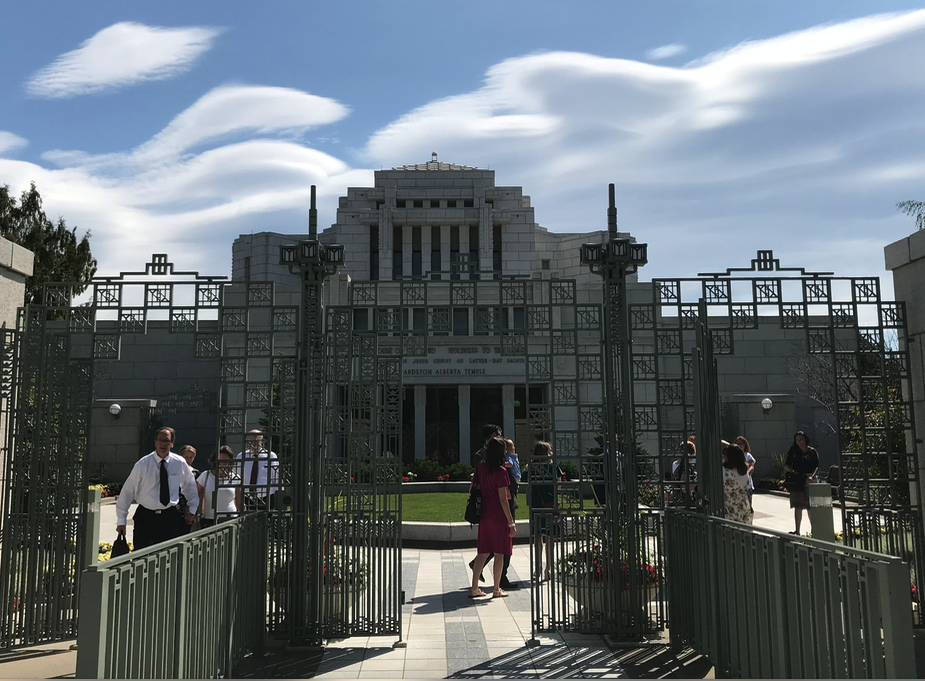 The clouds in the background created a surreal sense of place for the temple entrance.