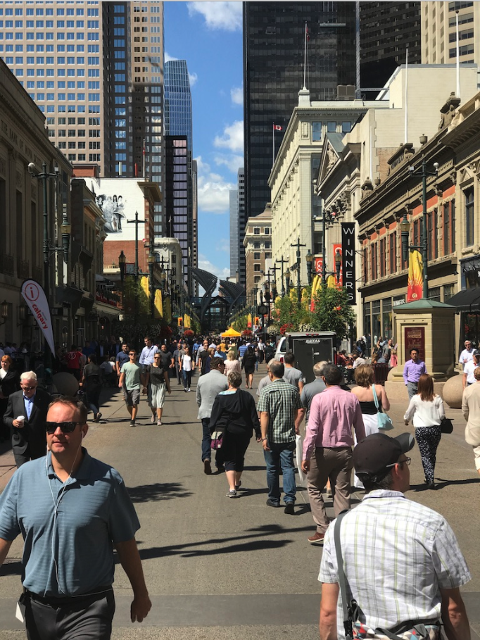 Stephen Avenue becomes very animated at lunch hour Monday to Friday when the weather is nice.