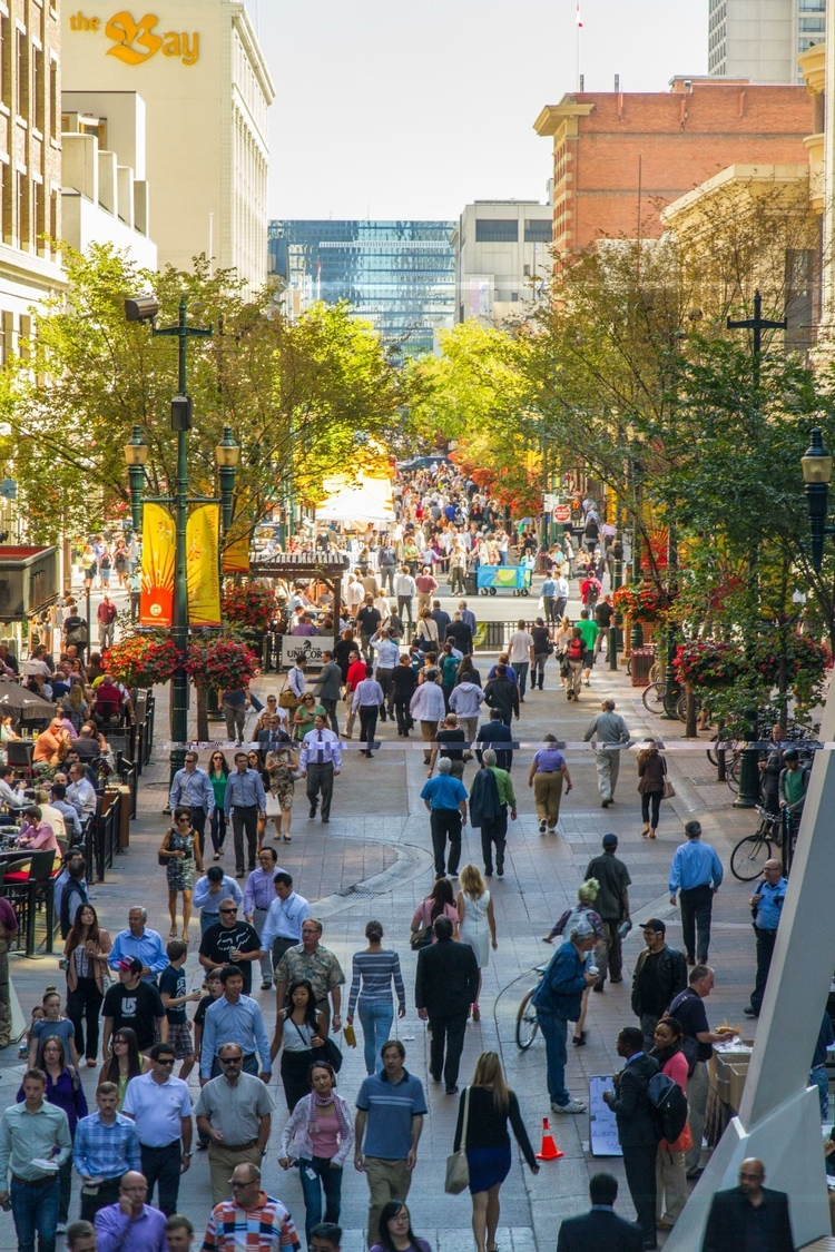 Stephen Avenue Walk can be an amazing place during a weekday noon hour in summer when thousands of downtown office workers and tourist stroll the pedestrian mall. (photo credit: Jeff Trost)