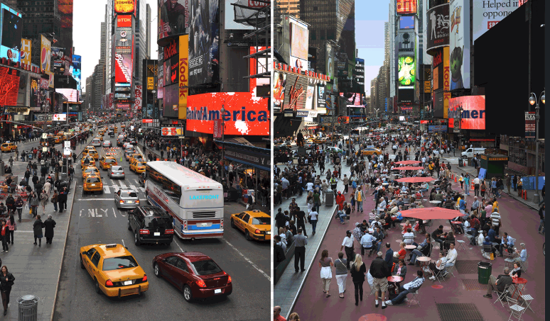 Times Square before and after the Gehl Studio makeover. (Photo Credit Gehl Studio website)